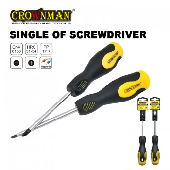 Crownman 5.0*150mm Screwdriver with Double Color TPR Handle