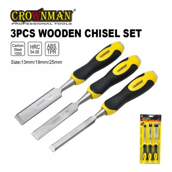 Crownman Firmer Chisel Set with Double Color TPR Handle