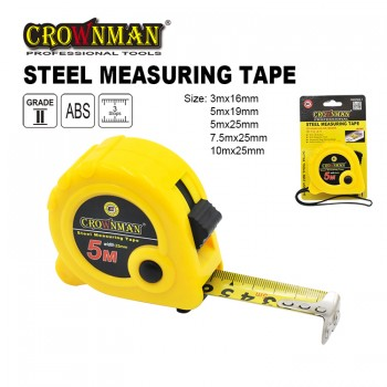Crownman 3mx16mm ABS Case Steel Measuring Tape with Magnetic Hooka