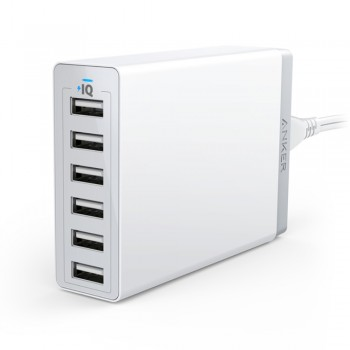 Anker A2123 PowerPort 60W 6-Port USB Desktop Charger - White