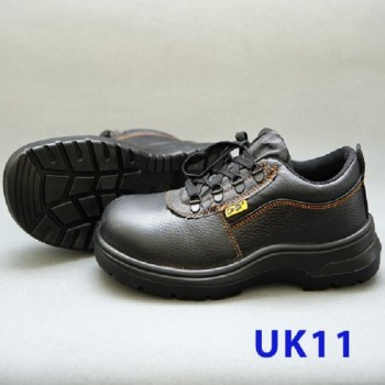 Black Grain Leather Laced Safety Shoe- Low Cut (UK 11)