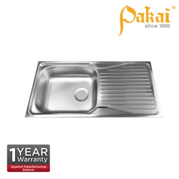 Pakai SUS304 Single Bowl Single Drainer Kitchen Sink with Overflow PK-KSI3691-5