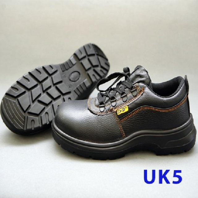 Black Grain Leather Laced Safety Shoe - Low Cut (UK 5)