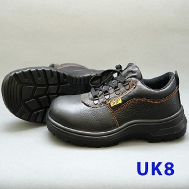 Black Grain Leather Laced Safety Shoe- Low Cut (UK 8)