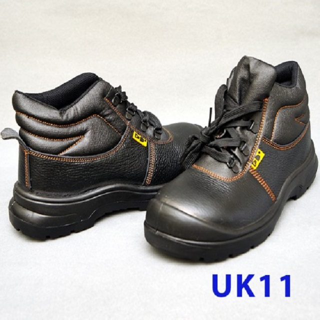 Black Grain Leather Laced Safety Shoe- Mid Cut (UK11)