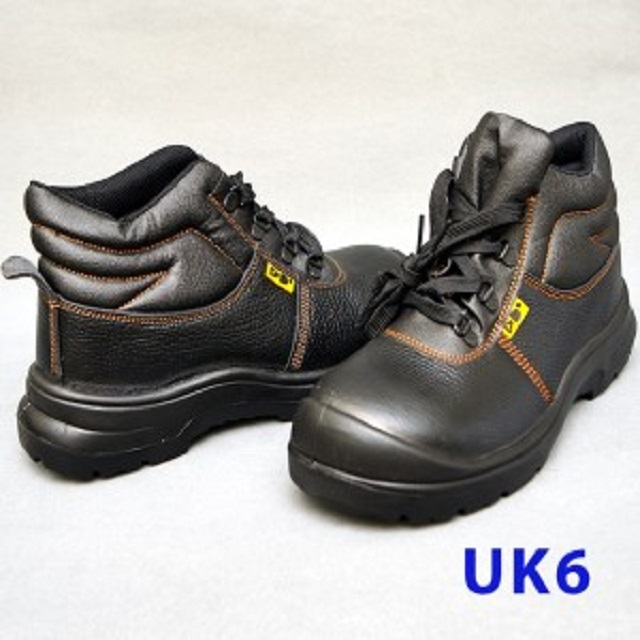 Black Grain Leather Laced Safety Shoe- Mid Cut (UK6)